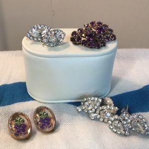 Set of four clip on earrings